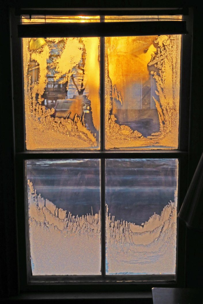 Frosted Window at Sunrise